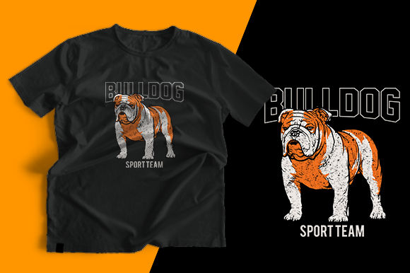 T-shirt Design - Bulldog Sport Team Graphic Print Templates By cithu09