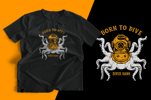 T-shirt Design - Octopus Helmet Graphic Print Templates By cithu09