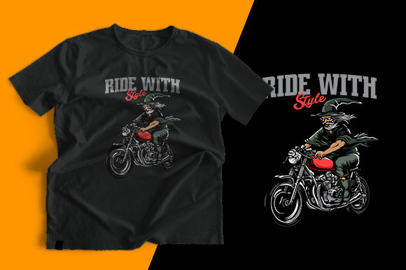 T-shirt Design - Ride with Style Graphic Print Templates By cithu09