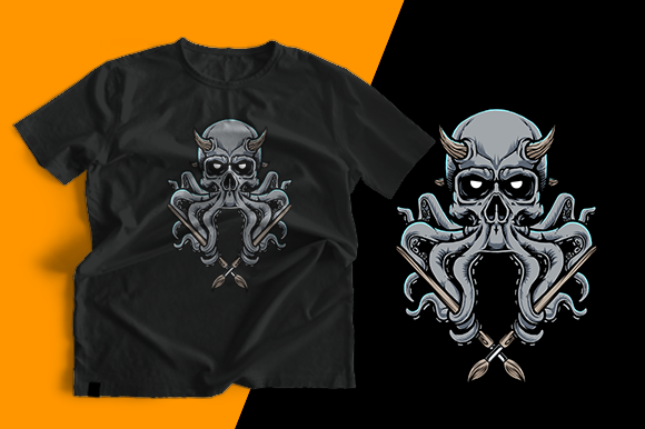 T-shirt Design - Skull Octopus Graphic Print Templates By cithu09