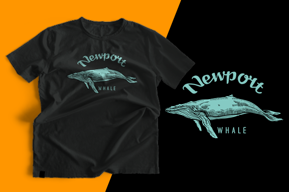 T-shirt Design - Whale Graphic Print Templates By cithu09