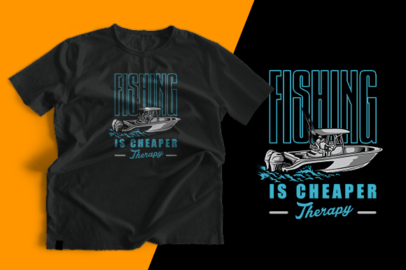 T-shirt Design - Fishing Boat Graphic Print Templates By cithu09