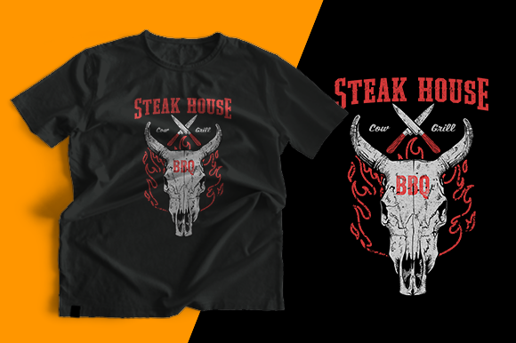 T-shirt Design - Steak House Graphic Print Templates By cithu09