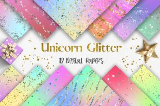 Print on Demand: Unicorn Glitter Background Digital Paper Graphic Backgrounds By PinkPearly