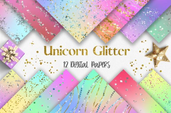 Unicorn Glitter Background Digital Paper Graphic Backgrounds By PinkPearly
