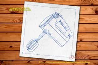 Vintage Kitchen Mixer Redwork House & Home Quotes Embroidery Design By Redwork101