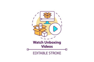 Print on Demand: Watching Unboxing Videos Concept Icon Graphic Icons By bsd studio