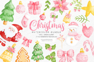 Print on Demand: Watercolor Christmas Clipart Bundle Graphic Crafts By Chonnieartwork