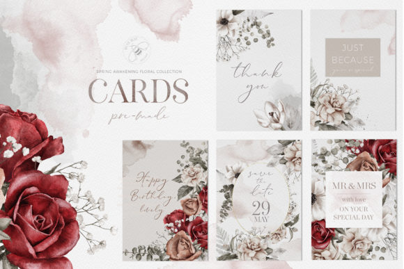 Watercolor Floral Cards Templates CMYK Graphic Illustrations By Busy May Studio