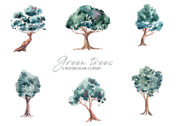 Print on Demand: Watercolor Trees Clipart. Digital Art Graphic Illustrations By Tiana Geo