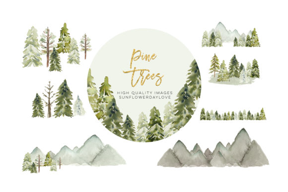 Winter Mountain Pine Trees Frames Graphic