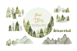 Print on Demand: Winter Mountain Pine Trees Frames Graphic Illustrations By SunflowerLove