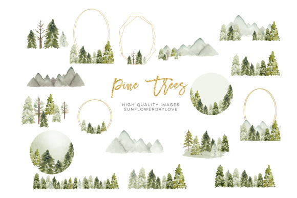 Winter Mountain Pine Trees Frames Graphic Item
