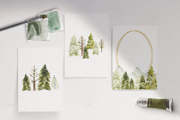 Winter Mountain Pine Trees Frames Graphic Design