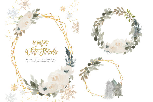 Print on Demand: Winter Floral Frames, Winter Clipart Graphic Illustrations By SunflowerLove