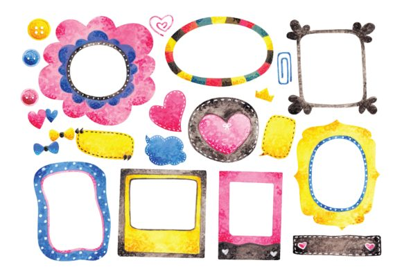 Water Color Style Frame Doodles Graphic Illustrations By Big Barn Doodles