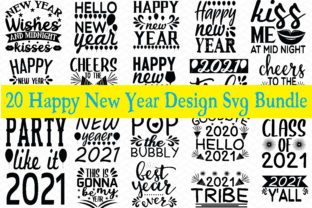 Print on Demand: 20 Happy New Year Design SVG Bundle Graphic Graphic Templates By BDB_Graphics