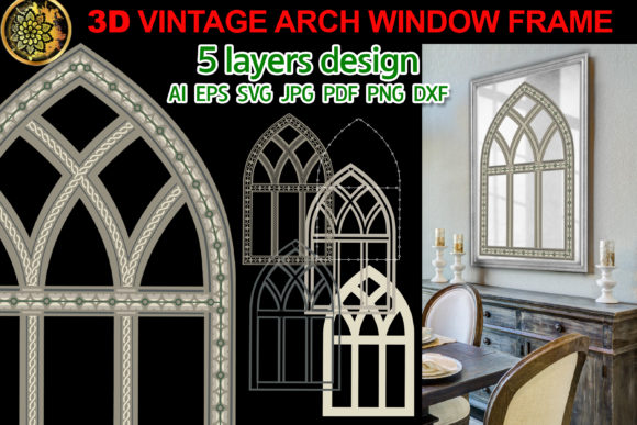 Print on Demand: 3D Vintage Farmhouse Arch Window Frame 1 Graphic Illustrations By V-Design Creator