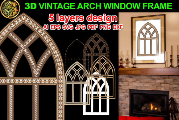 Print on Demand: 3D Vintage Farmhouse Arch Window Frame 2 Graphic Illustrations By V-Design Creator