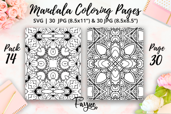 Print on Demand: Adult Mandala Coloring Pages Pack 14 Graphic Coloring Pages & Books Adults By Fayne