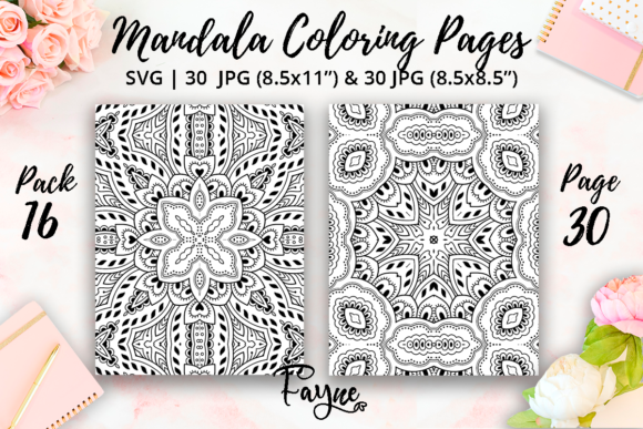 Print on Demand: Adult Mandala Coloring Pages Pack 16 Graphic Coloring Pages & Books Adults By Fayne