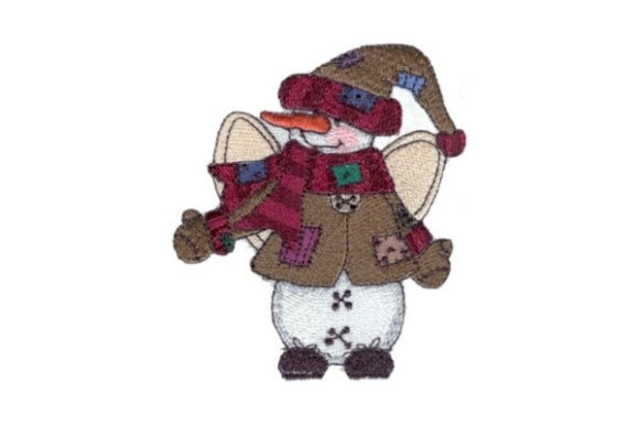 Angelic Snowman Brownie Winter Embroidery Design By Sew Terific Designs