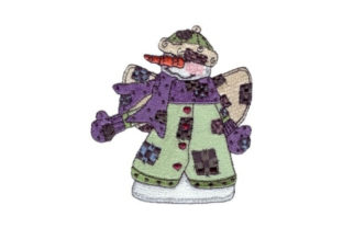 Angelic Snowman Checkers Winter Embroidery Design By Sew Terific Designs