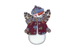 Angelic Snowman Patches Winter Embroidery Design By Sew Terific Designs