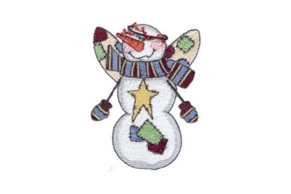 Angelic Snowman Twinkle Winter Embroidery Design By Sew Terific Designs