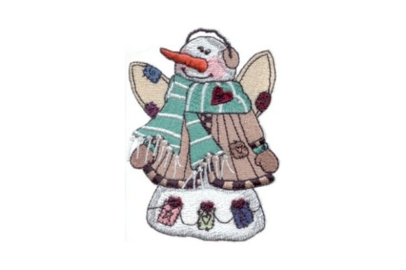 Angelic Snowman Zeke Winter Embroidery Design By Sew Terific Designs