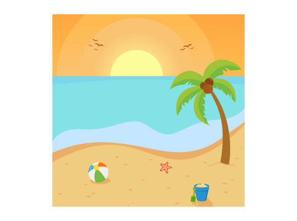 Beautiful Beach Vector Illustration Graphic Illustrations By printablesplazza