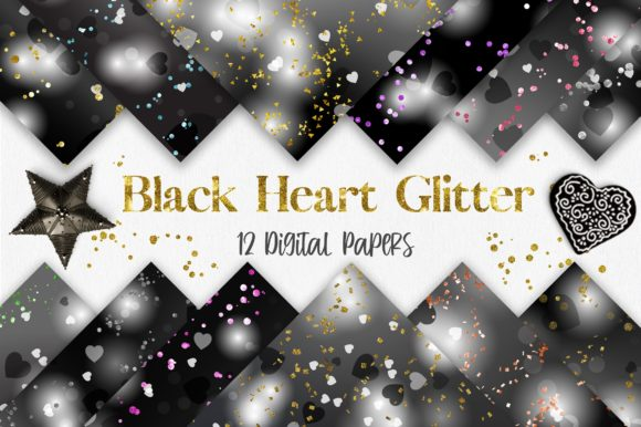 Black Heart Bokeh Glitter Background Graphic Backgrounds By PinkPearly