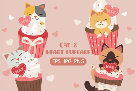 Bundle of Cat with Pink Cupcake Clipart Graphic Illustrations By Guppic the duck