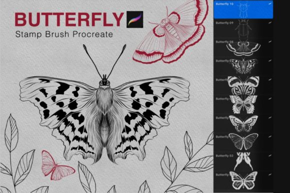 Butterfly Procreate Stamps Brush Graphic Brushes By tasmalee.art
