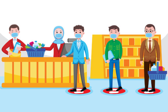 Cashier Social Distancing Graphic Illustrations By medzcreative