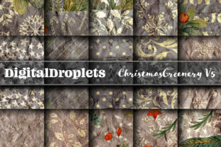 Christmas Greenery V5 | 24 PAPERS Graphic Backgrounds By FlyingMonkies