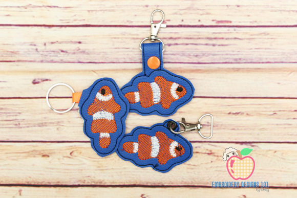 Clown Fish ITH Key Fob Pattern Fish & Shells Embroidery Design By embroiderydesigns101