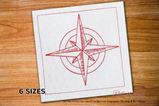 Compass Lineart Design Beach & Nautical Embroidery Design By Redwork101