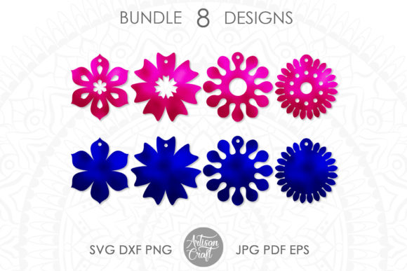 Print on Demand: Earrings Floral Earrings Graphic 3D SVG By Artisan Craft SVG