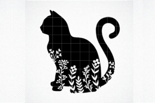 Print on Demand: Floral Cat Silhouette SVG , Cat Svg Graphic Crafts By SVG DEN