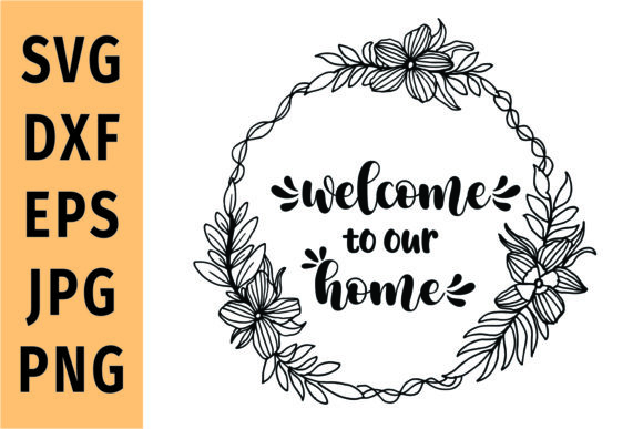 Print on Demand: Floral Wreath Farmhouse Sign SVG Graphic Crafts By Mozarella