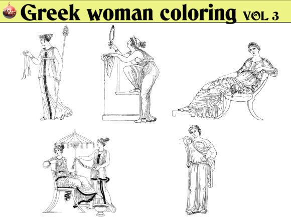 Print on Demand: Greek Woman Coloring KDP VOL 3 Graphic Coloring Pages & Books Adults By kdp Edition