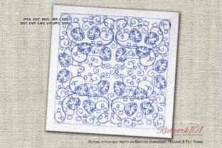Hart Flowers Desing Machine Intricate Cuts Embroidery Design By Redwork101