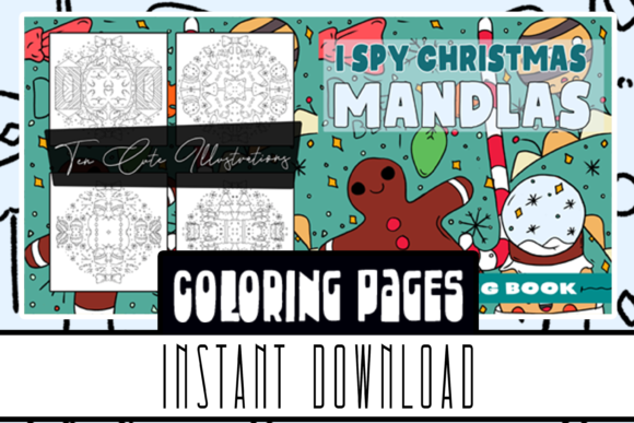 I Spy Christmas Mandalas Coloring Book Graphic Coloring Pages & Books Kids By Rabbit Art