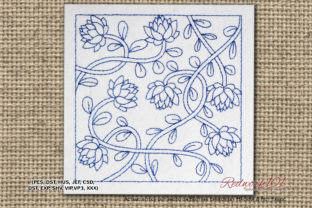 Lotus Flower Branch Lineart Design Single Flowers & Plants Embroidery Design By Redwork101