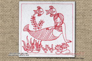 Mermaid with Fishes Lineart Design Marine Mammals Embroidery Design By Redwork101