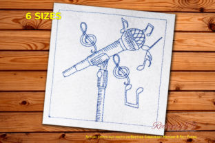 Microphone Redwork Music Embroidery Design By Redwork101