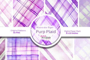 Print on Demand: Purp Plaid Watercolor Paper Graphic Backgrounds By Digital Doodlers