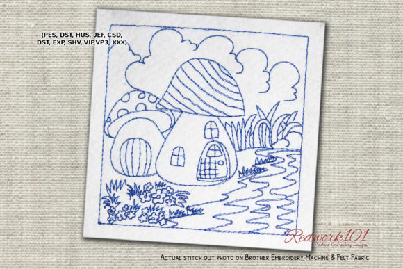 River Side Mushroom House Lineart Design Cities & Villages Embroidery Design By Redwork101