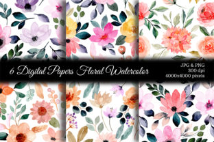 Print on Demand: Seamless Pattern Floral Watercolor 74 Graphic Patterns By asrulaqroni